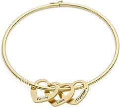 MyNameNecklace Personalized Bracelet Bangle with Heart Pendants - Custom Multiple Pendant Jewelry Christmas Gift