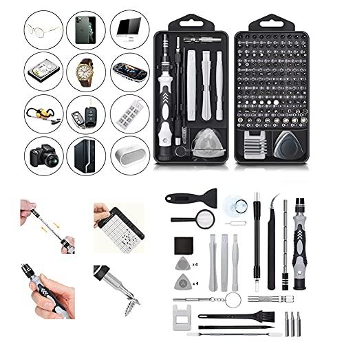 Queta 128 en 1 Juego de Destornilladores de Precisión con Magnetizador, Kit de Herramientas Precision de Reparación de Bricolaje Profesional para iPhones, Reloj, Tablet PC, MacBook, Cámara, Gafas