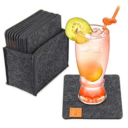 Jennary Set di 12 sottobicchieri in feltro grigio scuro con scatola, sottobicchieri rotondi per bicchieri, tavoli, bevande, bar, vetro, candele, sottobicchieri in feltro (10 x 10 cm)