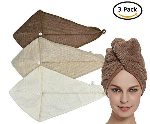 HOPESHINE Women's Soft Shower Hair Drying Towels Twist Hair Turban Wrap Drying Cap Great Gift for Women (Brown+Khaki+Off White)