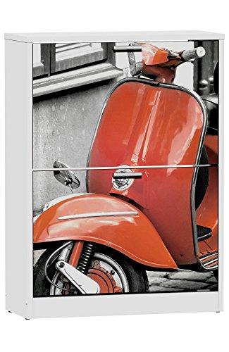 Abitti Zapatero de 2 Puertas Blanco 82x60cm, con serigrafia Red Vespa