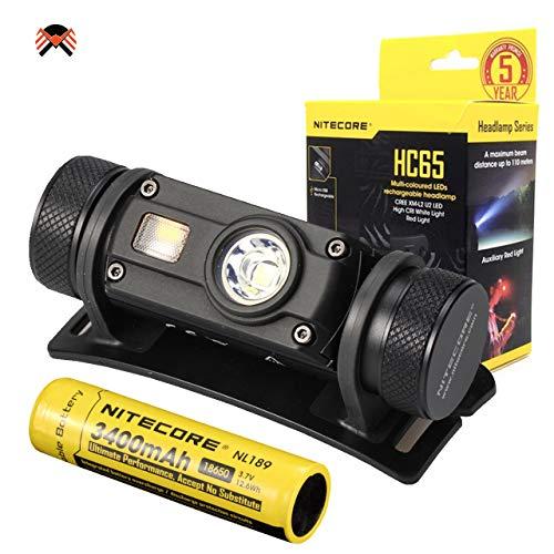 Nitecore HC65 Stirnlampe - LED CREE 1000 Lumen - Wiederaufladbar & IPX8 Wasserdicht Kopflampe - Stirnlampe Rotlicht [ Mit 3400mAh Akku ]