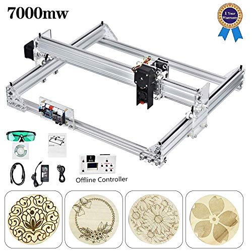S SMAUTOP 7000MW CNC Engraver Kits, CNC Router Wood Carving Engraving Cutting Machine DIY Logo Engraver Printer40x30cm2 Axis(40x30cm)