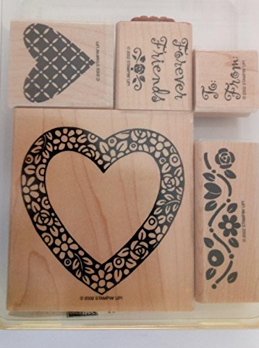 Stampin' Up 'Hearts & Posies' Wood Mounted Rubber Stamp RETIRED 2002, Mounted, Set of 6