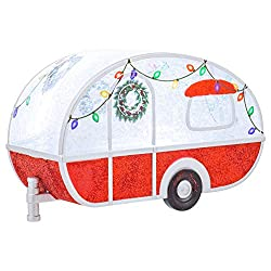 Retro Christmas trailer figurine for a fun holiday display