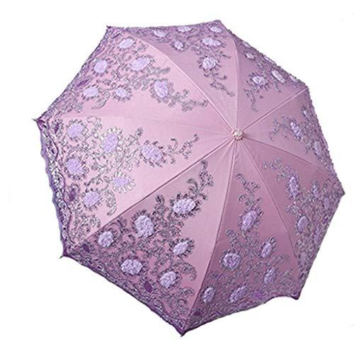 Unbekannt JCOCO Mode Regenschirm Stickerei Double - Layer Luxus Sonnenschirm Super Sonnencreme UV Folding Sonnenschirm (Farbe : Purple)