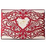 50X WISHMADE Corte con laser Tarjetas de Invitaciones de Boda Rojas con Ducha Nupcial de Compromiso de Corazón Hueco (juego de 50 piezas)