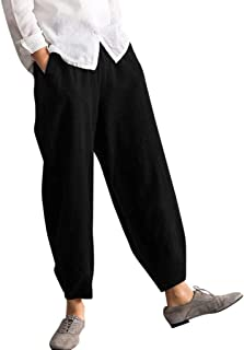 Toimothcn Women`s Casual Cotton Baggy Pants with Elastic Waist Pleated Tapered Capri Trousers with Pockets
