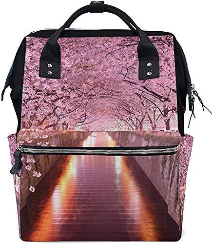 College Bag Mooie Sakura Mummy Bag boodschappentas print Travel Grotere capaciteit Mummy rugzak stijlvolle luiertas verzorging baby rugzak waterdicht Dad Mom luier Muti-Funktio