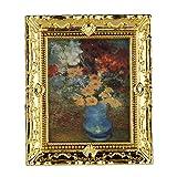 1:12 Kunststoff Rahmen mit Drucken Blumen Oil Painting Miniatur Puppenhaus Möbel