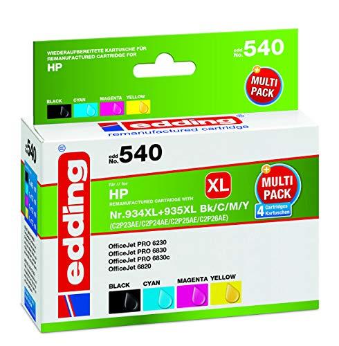 edding Tintenpatrone EDD-540 ersetzt HP 934XL/935XL (C2P23/C2P24/C2P25/C2P26) Multipack 4 - Schwarz, Cyan, Magenta, Gelb - 1x 45 + 3x 12 ml
