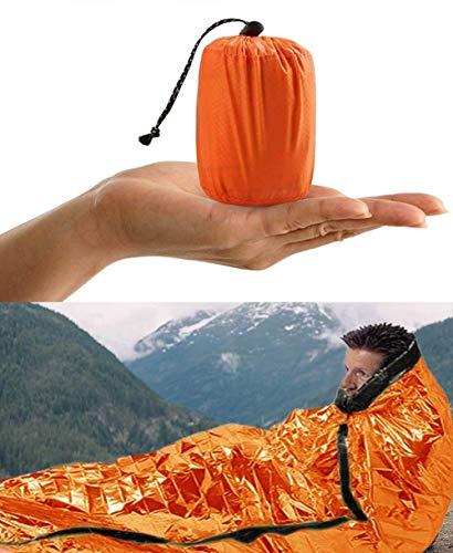 Pptabold Saco de Emergencia Dormir, Supervivencia Manta, Impermeable Aislamiento Térmico Albergue, Brillante Naranja, Ligero y Reutilizable para Acampar Supervivencia Al Aire Libre