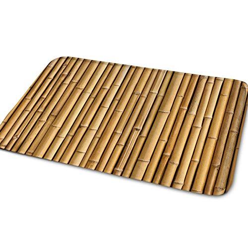 Generic Branded Felpudo de franela Cc2523cn de bambú amarillo, antideslizante, alfombra de entrada, alfombra decorativa duradera, lavable a máquina, tamaño extra para interior/exterior