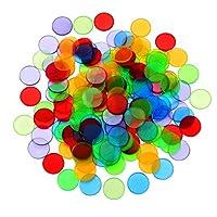 NUOBESTY 100個25ミリメートル透明混合色クリアビンゴカウントチッププラスチックマーカー盛り合わせ色チップ