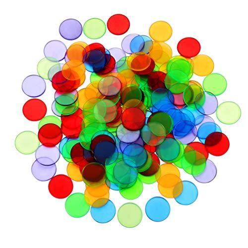 Kisangel 100 Pzas 25Mm Transparente Color Mezclado Claro Bingo Conteo Chip Plástico Rotuladores Surtido de Chips de Colores