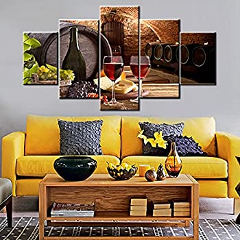 Kitchen Wall Art Red Wine Cellar Pictures Wooden Barrel and Fruit Grape Paintings for Living Room 5 Panel Canvas Artwork House Modern Decor Giclee Framed Ready to Hang Posters and Prints 60  Wx32  H