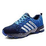 PFMY.DG Unisexo Zapatos deportivos, Respirable Ligero Entrenador Aptitud Zapatos para correr, Trotar, a pie,Blue,35