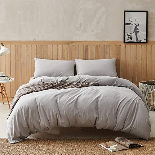 DAPU Juego de cama de punto jersey de punto jersey ultra suave y cómodo, 100% algodón jaspeado, con cremallera (gris claro 135 x 200 cm funda nórdica y 2 fundas de almohada)