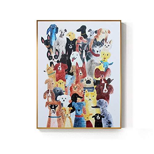 ZQXXX Póster e impresión de perro con gato de dibujos animados, decoración de moda para mascotas, imágenes artísticas de pared encantadoras para sala de estar, carteles para niños, 50x75cm sin marco