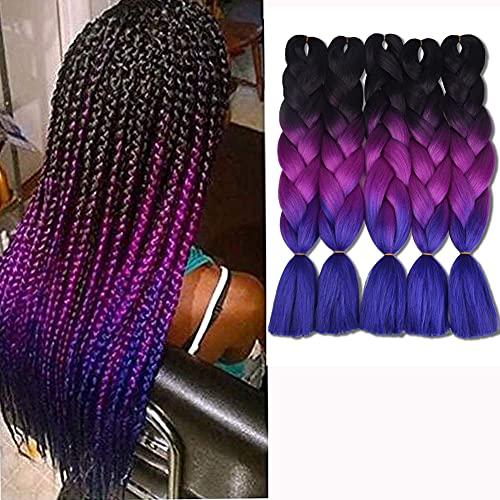 Ombre Braiding Hair Kankalon Synthetic Braiding Hair Extensions Black-Purple-Blue Jumbo Braids 24inch 5pcs/lot