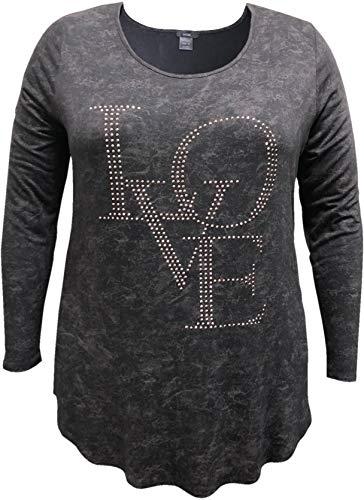 LEEBE Damen Plus Size Scoop Neck Long Sleeve Liebe Beschlagene Top 46-64 4X DE 58-60 Schwarz
