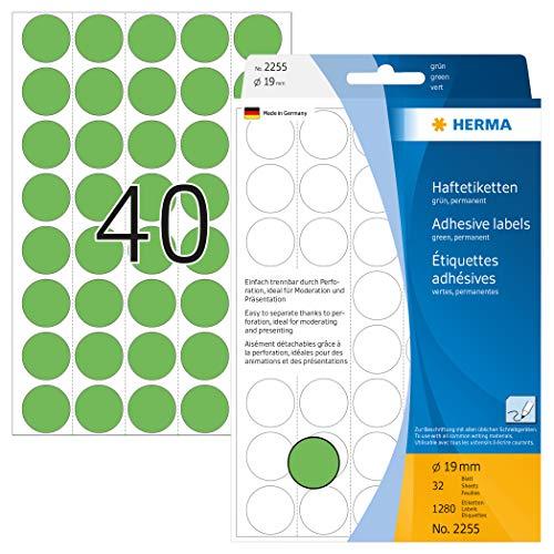 HERMA 2255 Vielzweck-Etiketten / Farbpunkte rund (Ø 19 mm, 32 Blatt, Papier, matt, perforiert) selbstklebend, permanent haftende Markierungspunkte zur Handbeschriftung, 1.280 Klebepunkte, grün