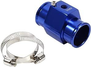Keenso 36mm Blue Water Temperature Joint Pipe Temp Sensor Gauge Radiator Hose Adapter, Aluminum Water Temp Meter Temperature Gauge Joint Pipe Radiator Sensor Adaptor Clamps