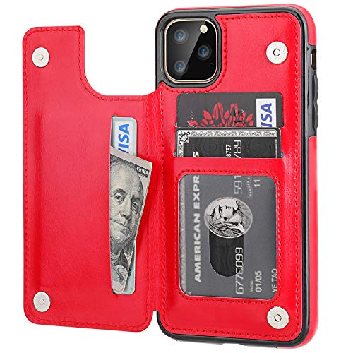 iPhone 11 Pro Max Wallet Case with Card Holder,OT ONETOP PU Leather Kickstand Card Slots Case,Double Magnetic Clasp and Durable Shockproof Cover for iPhone 11 Pro Max 6.5 Inch(Red)