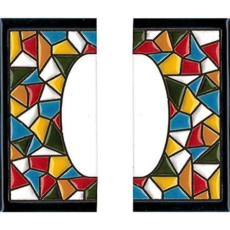 Letreros con numeros y letras en azulejo de ceramica policromada pintados a mano en t/écnica cuerda seca para placas con nombres Texto personalizable direcciones y se/ñal/éctica Dise/ño MOSAICO MINI 7,3 cm x N/úmeros casa