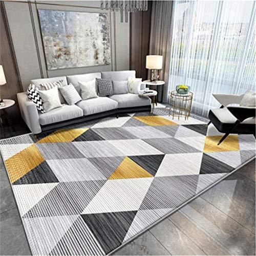 WQ-BBB Alfonbras Pelo Corto diseño Moderno Sala Alfombra alfombras Pasillo Cuidado fácil La Alfombrae Patrón de Rayas geométrico Negro Amarillo Beige Gris jarapas 160X230cm