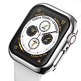 ANBEST Kompatibel mit Apple Watch Series 6/5/4/SE Hülle 44mm Vollschutz PC Hard Fall Eingebauter Bildschirmschutz aus Gehäuse Glas Schutzhülle, Silber