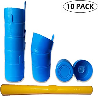 3 & 5 Gallon Water jug Cap Reusable Crown Top 55mm Replacement Cap with Plastic Cap-Opener Non-Spill Anti-Splash Smart Plug Pack of 10