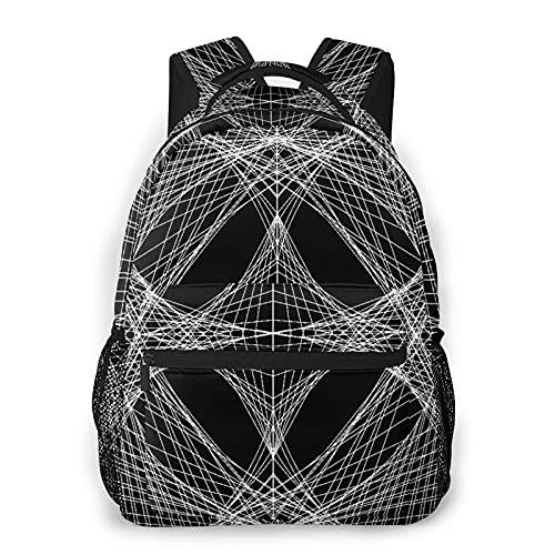 MEJX Mochila Paquete de Almacenamiento,Filosofía abstracta en blanco y negro del prisma inicial,Casual Bolsa de Estudiantes de la Escuela Mochila Portátil de Viaje