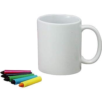 サンアート 「 自分で描いて作る食器 」 レインボーキット(専用クレヨン付)コップ マグカップ 300cc 白 SAN1402-W