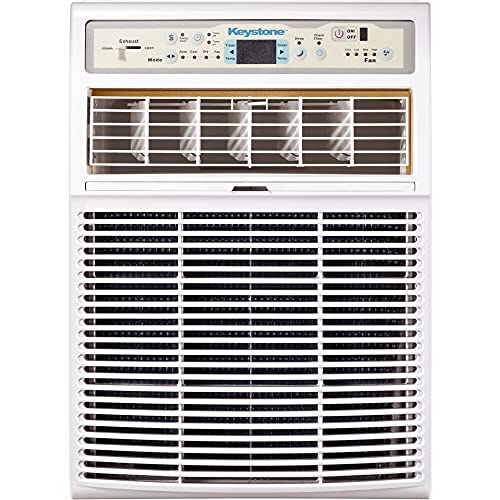 Keystone 10,000 BTU Slider Casement Window Conditioner | 3 Fan Speeds | 4-Way Air Direction Control | Sleep Mode | Dehumidifier | Washable Filter | AC for Rooms up to 450 Sq. Ft | KSTSW10A, White