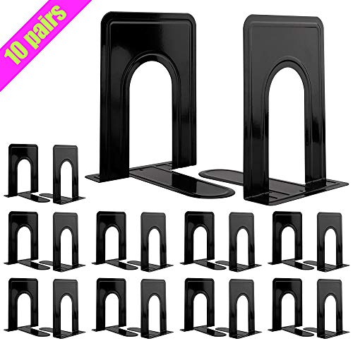 Jekkis Metal Bookends, 10 Pairs/20 pcs Heavy Duty Book Ends, 6.6 x 5.7 x 4.9 inches Black Bookend Supports, Nonskid Bookends for Shelves, Office and Home