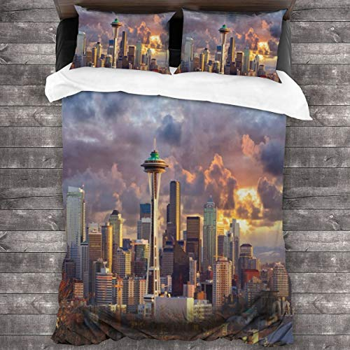 Duvet Cover Set 3 PCS,Seattle Skyline At Sunset Wa United States Beams Through Dramatic Cloudscape Scenery,Bedding Duvet Cover with 2 Pillowcases(Double 200x200cm)