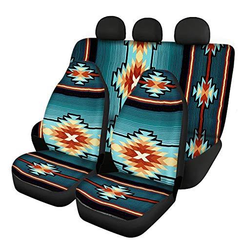 Howilath Juego completo de 3 piezas de protección para asientos delanteros y traseros de étnicos, diseño de rayas tribales indias, color turquesa