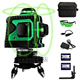 ATOLS 12 Lines Laser Level for Picture Hanging,3x360° 3D Horizontal and Vertical Green Cross Line,2 Rechargeable Battery, Switchable & Auto Self Leveling, for Indoor & Outdoor Construction