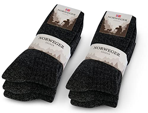 6 Paar Norweger Socken Herren Damen Wintersocken mit Wolle 20100 (Anthrazit 43-46)