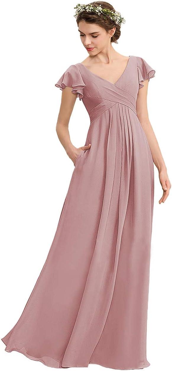 Noras dress Indefinitely V Neck Max 53% OFF Chiffon with Dresses Pockets Long Bridesmaid
