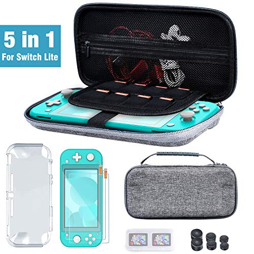 BEBONCOOL Switch Accessories Bundle for Nintendo Switch Lite, Switch Carry Case,2 Pack Screen Protector,Switch Cover Case,6 Pcs Joystick Caps,Game Card Case for Nintendo Switch Lite Accessories Kit