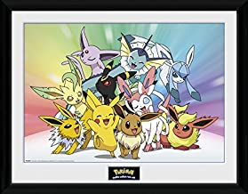 Pokemon Framed Collector Poster - Pikachu, Eevee, Jolteon Flareon Vaporeon Umbreon Leafeon Glaceon Sylveon (16 x 12 inches)