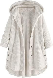 KYLEON Women's Coat Casual Winter Warm Sherpa Lined Button Hooded Sweatshirt Jacket Fuzzy Fleece Oversized Cardigan Coat