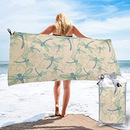 Beautiful Dragonfly Abstract Skulls Toalla de Playa Ultra Suave 27.5 'X 55' Portátil Absorbente de Agua Multi Microfibra Toalla de Playa sin Arena Manta para Viajes Piscina Natación Baño Camping Yoga