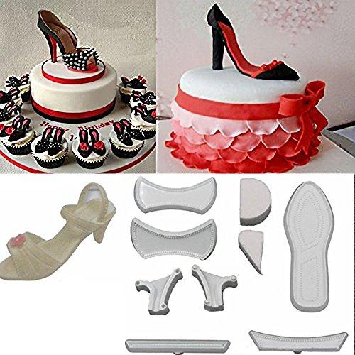 Kuchen- und Zuckergussformen, hochhackige Schuhe, 9 Stück