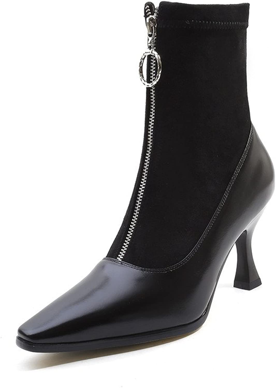 Nine Seven Genuine Leather Women's Square Toe High Stiletto Heel Zip Up Handmade Mid Calf Boots