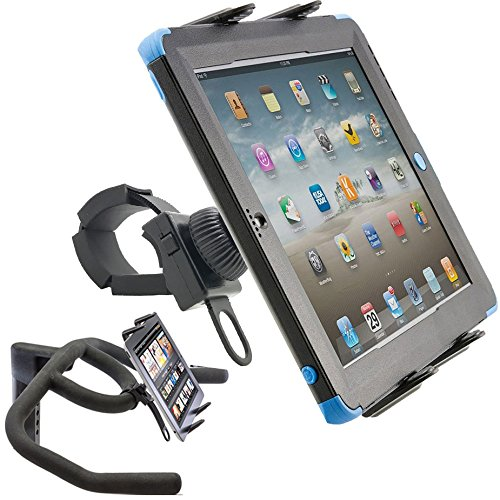 ChargerCity StrapLock Universal Indoor Spin Bike Treadmill Elliptical Exercise Cycle Mount Holder for Apple iPad Pro iPad Air/Mini Galaxy Tab & All 7-12 inch Screen Size TabletsFits Otterbox case