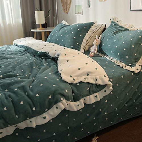 Juego de ropa de cama con funda,Chica corazón coral vellón de cuatro piezas grueso de doble cara vellón de leche 1.8 m sábana princesa viento franela amor-Azul profundo_Juego de cama de 1,5 m con 4 p