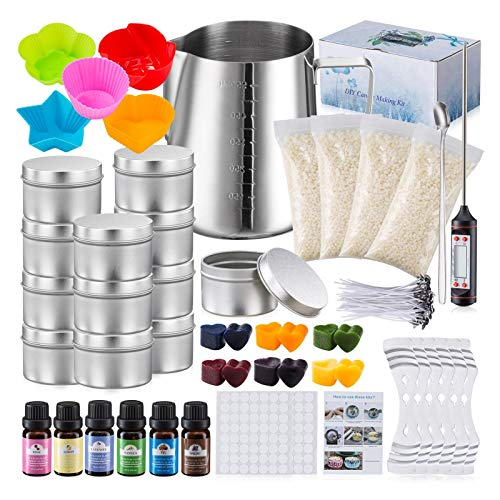 Candle Making Kit Supplies, Soy Wax DIY Candle Craft Tools for Adults and Kids, Including Melting Pot, Fixed Clip, Thermometer, Wicks, Fragrance Oils, Dyes, Tins and More